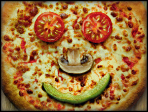 image of smiley faced pizza
